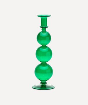 Country Green Glass Candle Holder