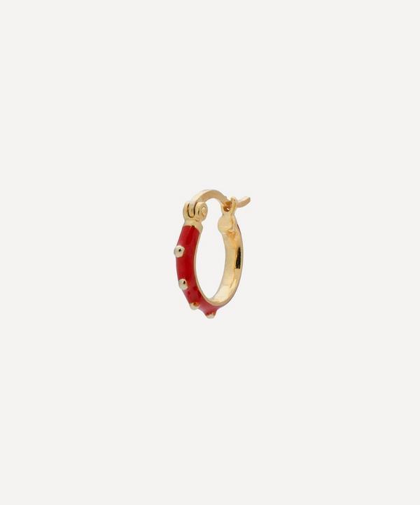Anna + Nina - Gold-Plated Dolly Ring Enamel Single Hoop Earring