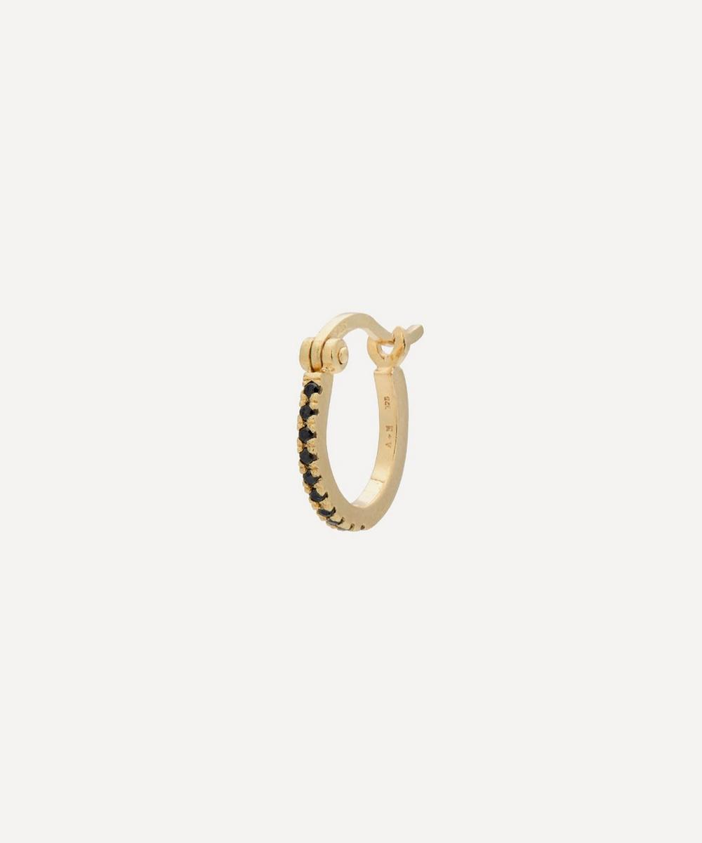 Anna + Nina - Gold-Plated Darkness Ring Zirconia Single Hoop Earring