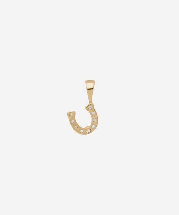Anna + Nina - Gold-Plated Horseshoe Zirconia Necklace Charm