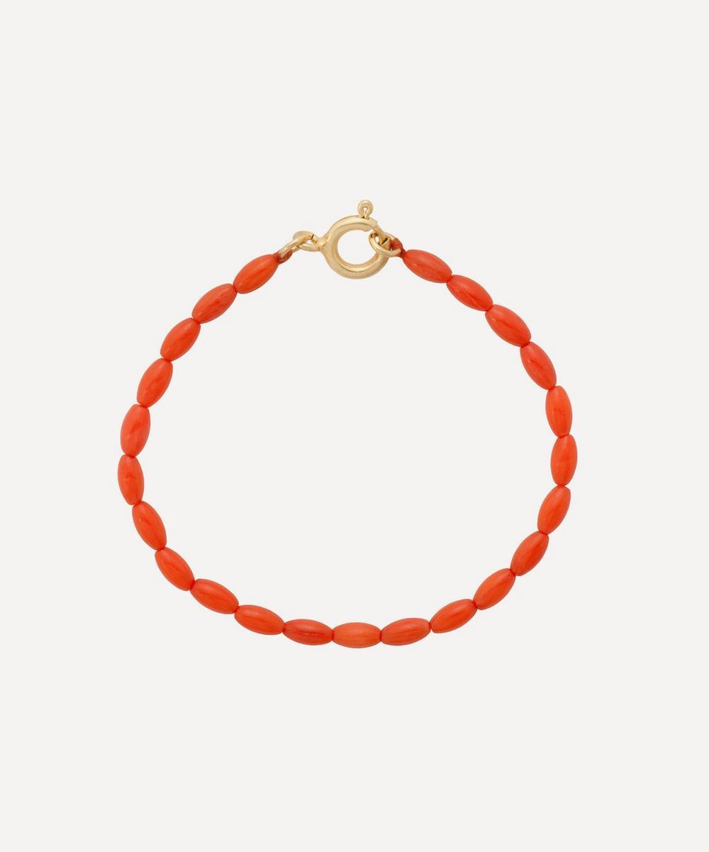 Anna + Nina - Gold-Plated Yee Haw Coral Beaded Bracelet