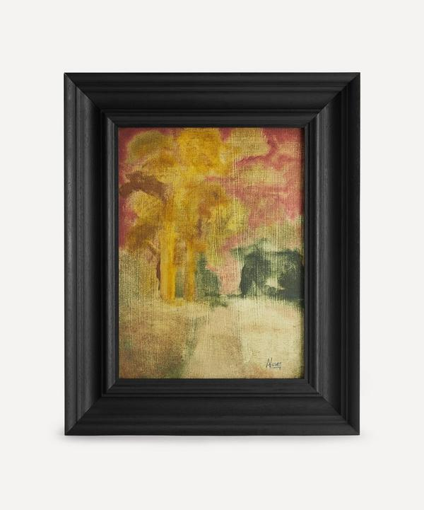 Andrew Viner - Red Sky Over Path To Church In Woods Original Framed Painting