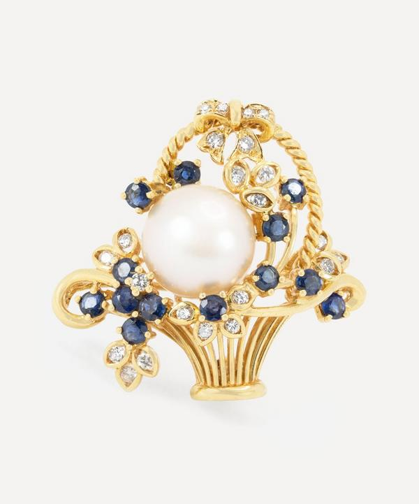 Kojis - 18ct Gold Sapphire and Pearl Basket Brooch-Pendant
