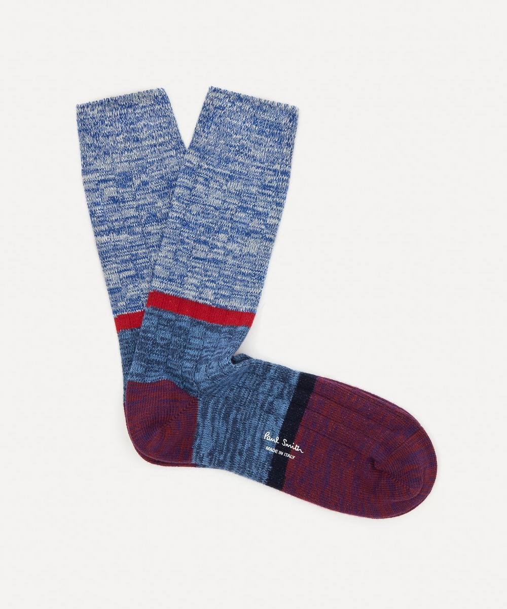 Paul Smith - Colour-Block Marl Ribbed Socks