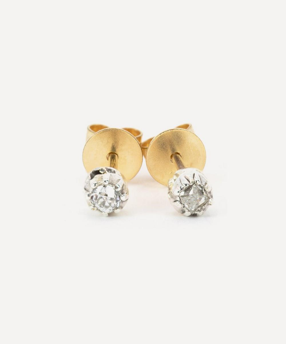 Kojis - 9ct Gold and Silver Antique Diamond Stud Earrings