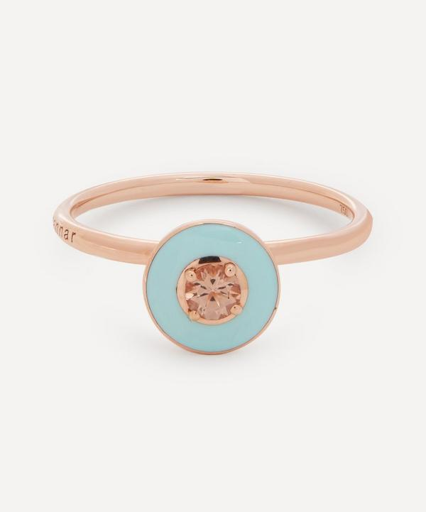 Selim Mouzannar - 18ct Rose Gold Mina Enamel Peach Tourmaline Ring