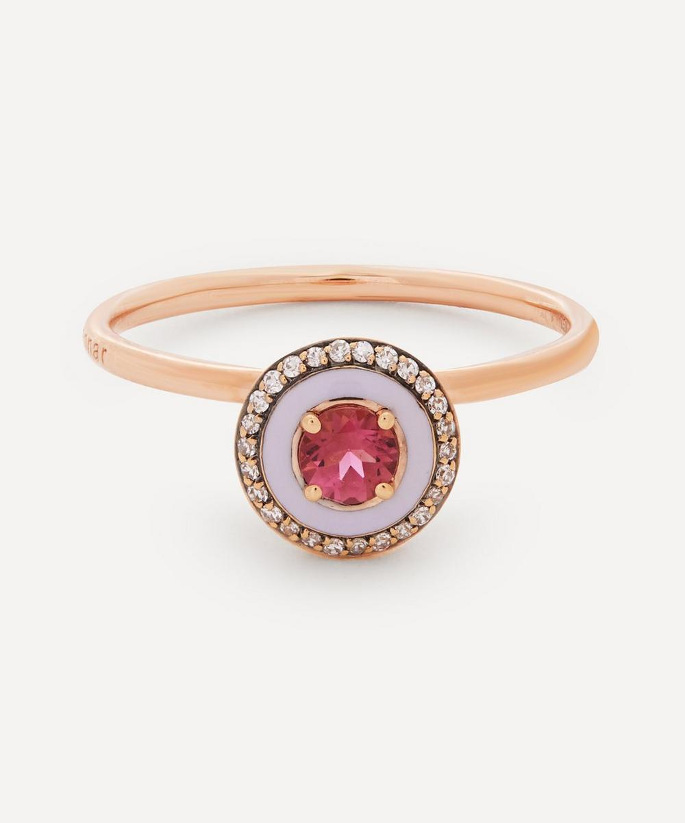 Selim Mouzannar - 18ct Rose Gold Mina Enamel Pink Tourmaline and Diamond Ring