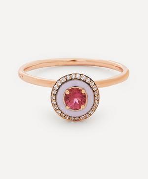 18ct Rose Gold Mina Enamel Pink Tourmaline and Diamond Ring