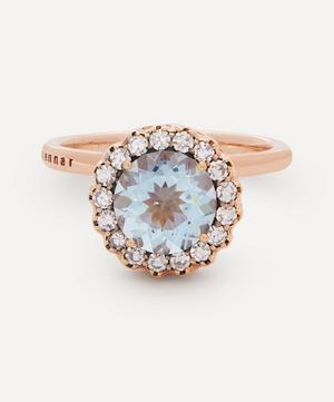 18ct Rose Gold Beirut Aquamarine and Diamond Ring