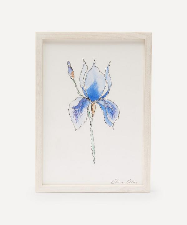 Claire Coles - Traces of Flora: Blue Iris Framed Embroidery