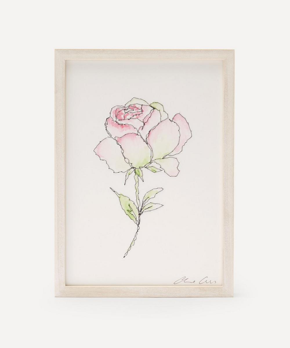 Claire Coles - Traces of Flora: Blush Rose Framed Embroidery