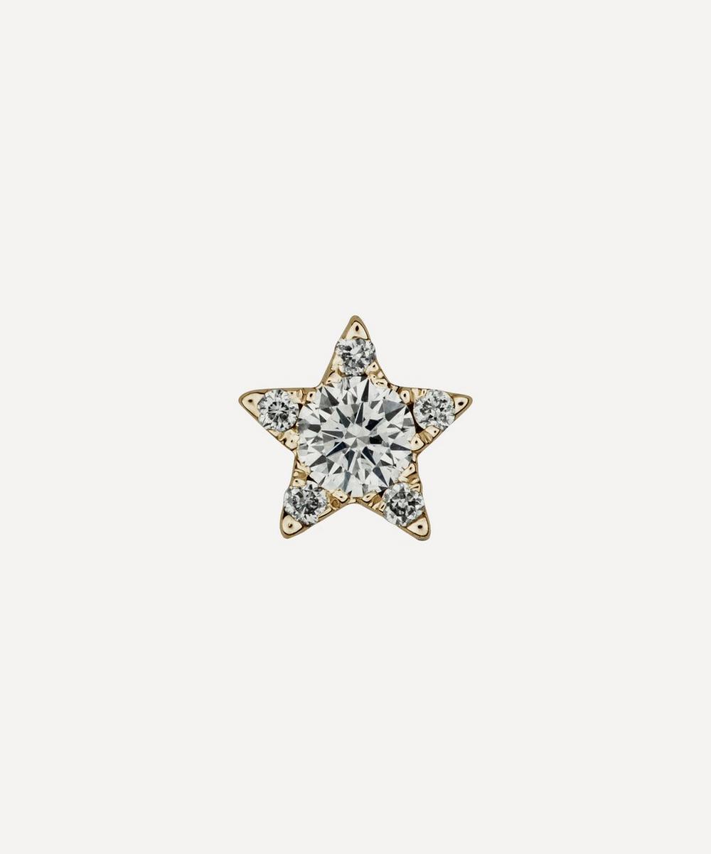 Maria Tash - 18ct 4.5mm Diamond Star Single Threaded Stud Earring