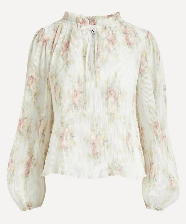 Ganni - Pleated Georgette Floral Blouse