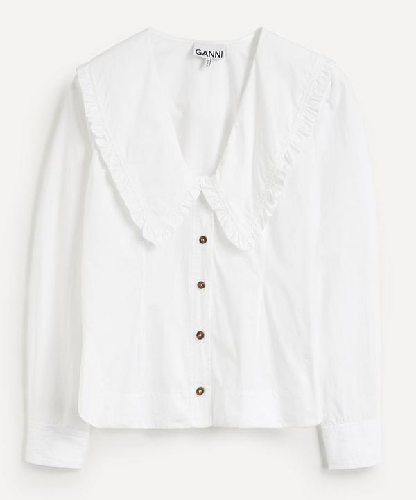 Ganni - Big Collar Cotton Poplin Blouse