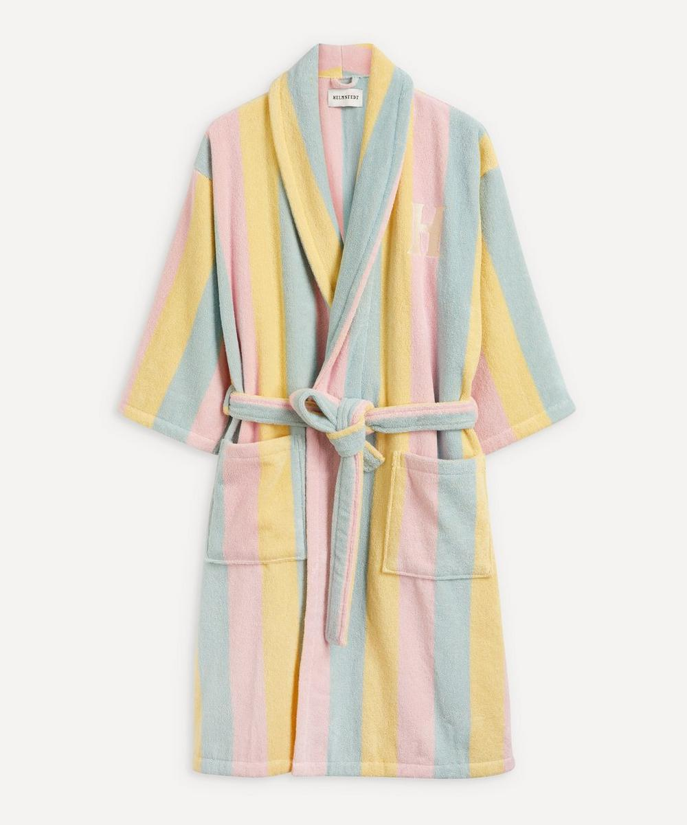 HELMSTEDT - Tri-Colour Striped Cotton Bathrobe