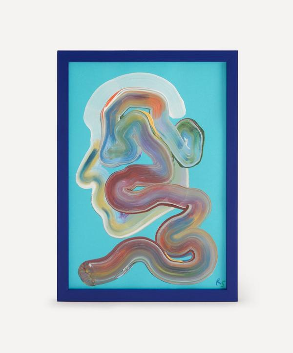 Robson Stannard - Turquoise Face Wiggle Original Framed Painting