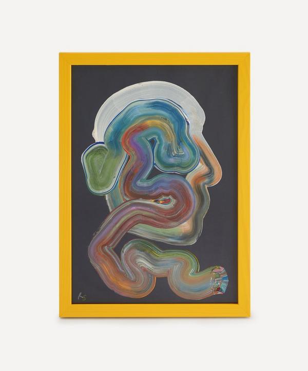 Robson Stannard - Navy Face Wiggle Original Framed Painting
