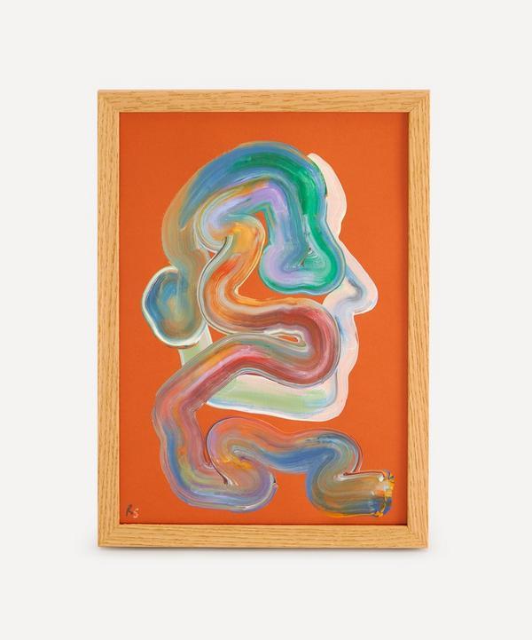 Robson Stannard - Orange Face Wiggle Original Framed Painting