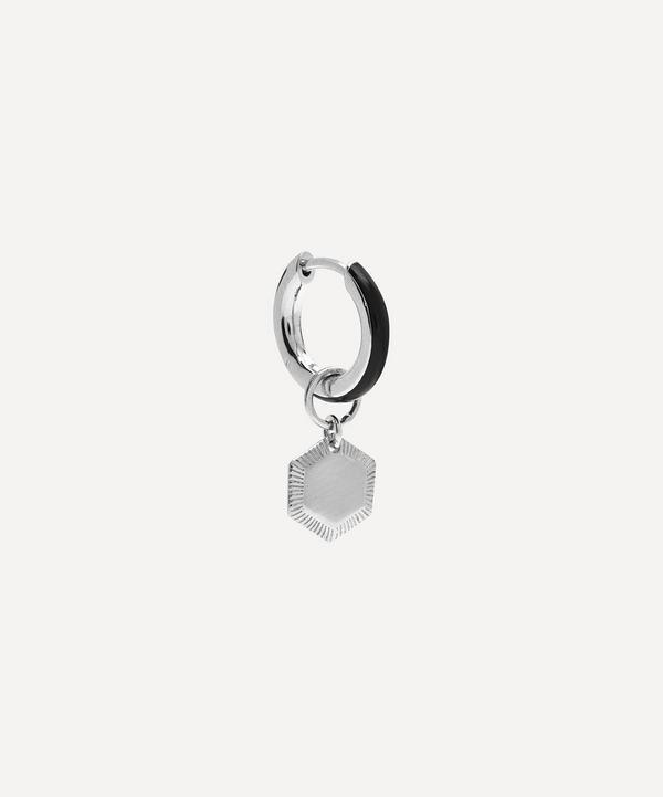 Maria Black - White Rhodium Hey Kim Huggie Earring