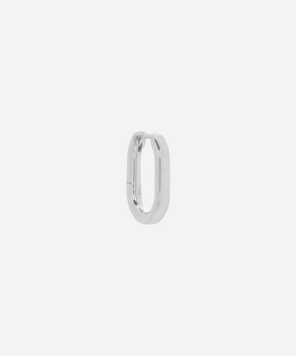 Maria Black - White Rhodium-Plated Slick Single Huggie Hoop Earring