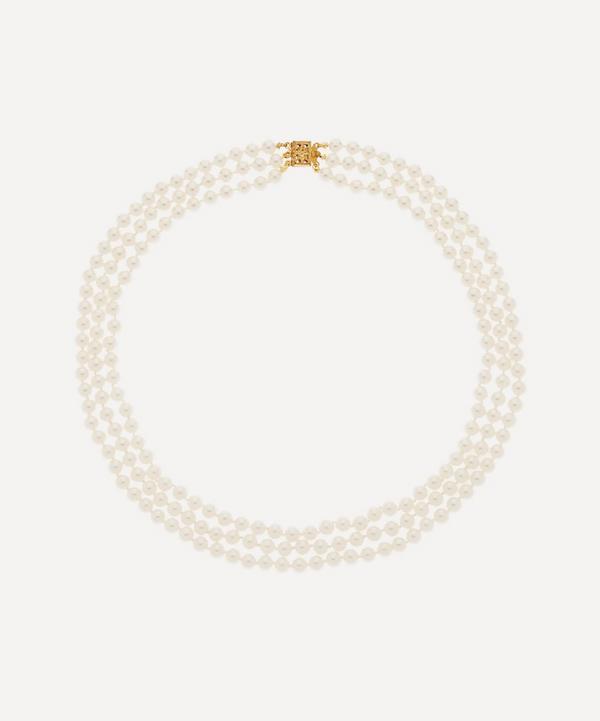 Susan Caplan Vintage - 1960s Triple Strand Faux Pearl Necklace