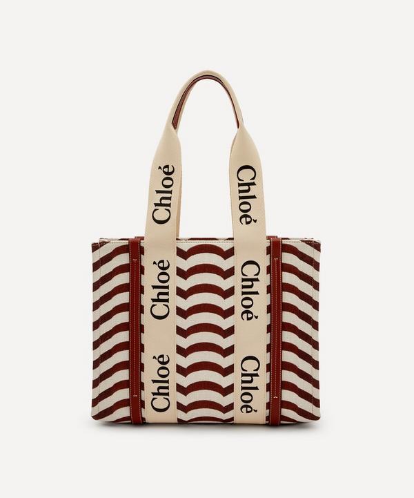 Chloé - Woody Medium Striped Cotton-Blend Tote Bag