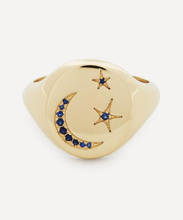 Liberty - 9ct Gold Ianthe Star and Moon Blue Sapphire Signet Ring