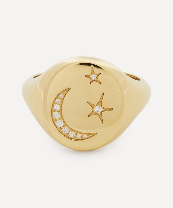 Liberty - 18ct Gold Ianthe Star and Moon Diamond Signet Ring