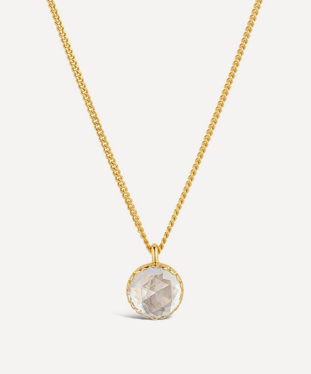 Dinny Hall - 22ct Gold Plated Vermeil Silver Gem Drop Medium Rose Cut White Topaz Pendant Necklace