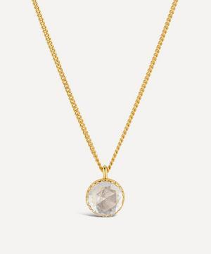 22ct Gold Plated Vermeil Silver Gem Drop Medium Rose Cut White Topaz Pendant Necklace
