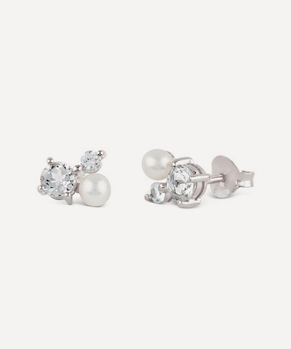 Dinny Hall - Silver Gem Drop Multi-Stone Trilogy Stud Earrings