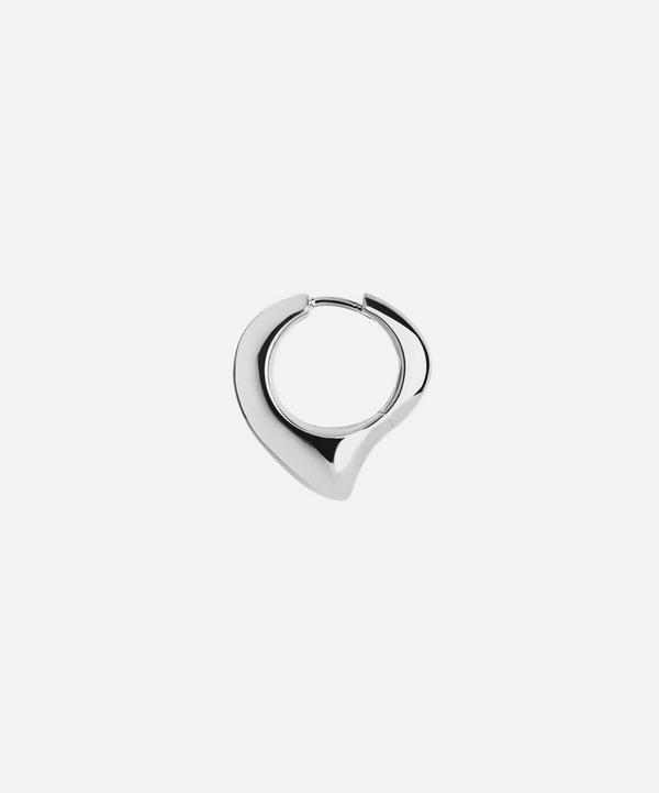 Maria Black - White Rhodium-Plated Fei Single Huggie Hoop Earring
