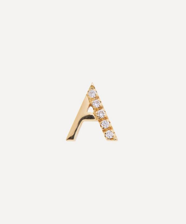 Liberty - 9ct Gold Letter A Diamond Alphabet Single Stud Earring