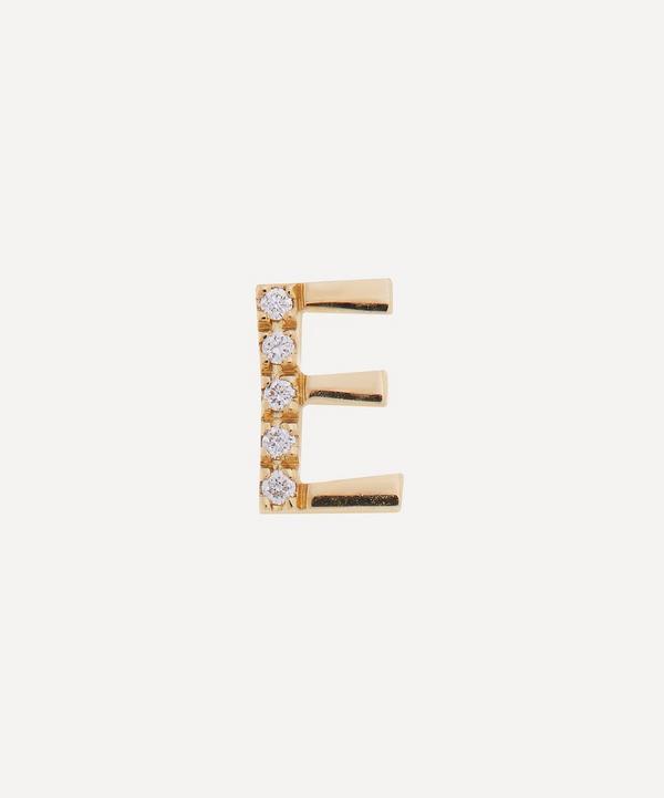Liberty - 9ct Gold Letter E Diamond Alphabet Single Stud Earring