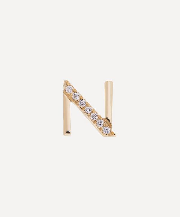Liberty - 9ct Gold Letter N Diamond Alphabet Single Stud Earring