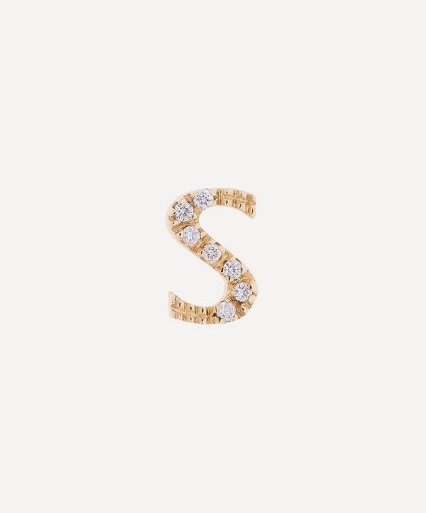 Liberty - 9ct Gold Letter S Diamond Alphabet Single Stud Earring