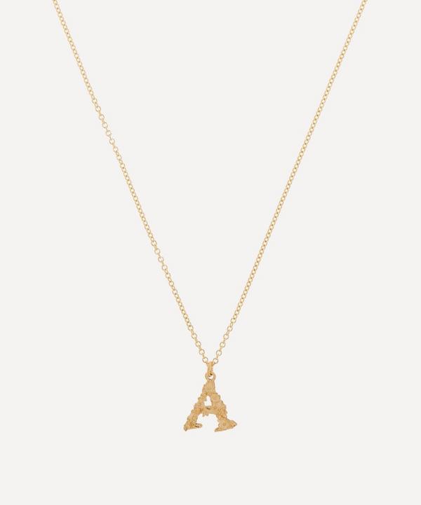 Alex Monroe - 18ct Gold Teeny Tiny Floral Letter A Alphabet Pendant Necklace