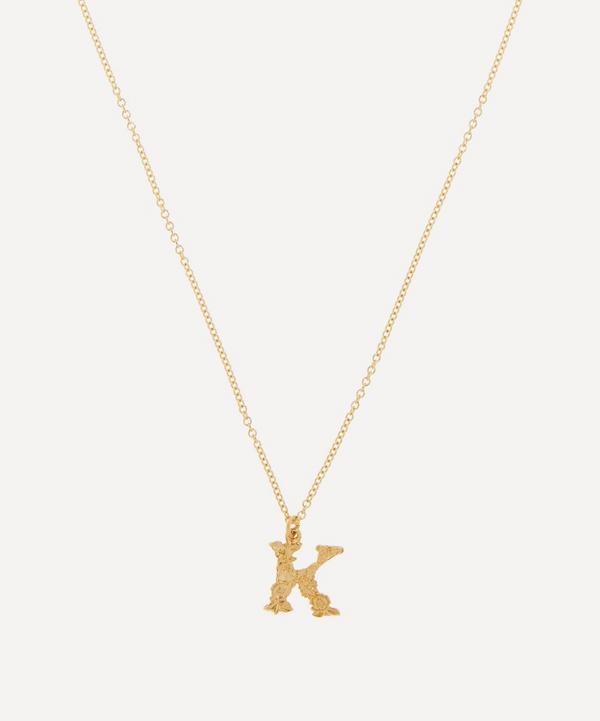 Alex Monroe - 18ct Gold Teeny Tiny Floral Letter K Alphabet Pendant Necklace