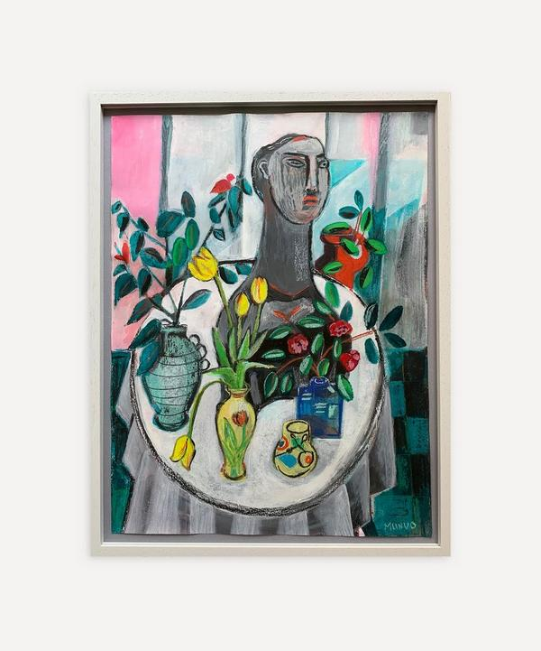 Naomi Munuo - Sill Life with Cotoneaster Franchetii and Tulips 2021 Original Framed Artwork