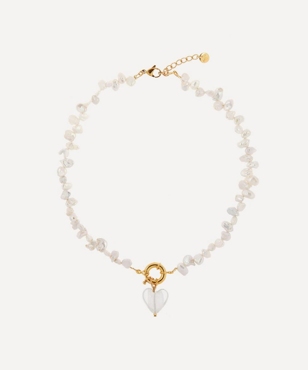 Mayol - Gold-Plated Invisible Touch Glass Heart Pearl Necklace