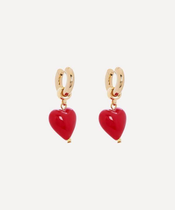 Mayol - Gold-Plated Heart of Glass Hoop Earrings