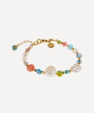 Gold-Plated Ferris Bueller Beaded Baroque Pearl Bracelet
