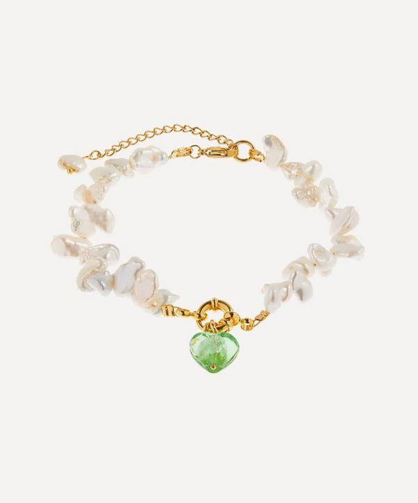 Mayol - Gold-Plated Invisible Touch Glass Heart Pearl Anklet