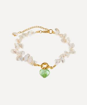 Gold-Plated Invisible Touch Glass Heart Pearl Anklet