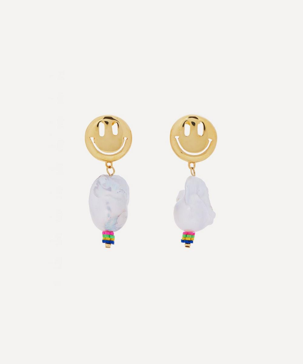 Mayol - Gold-Plated The Fresh Prince of Bel Air Smiley Baroque Pearl Drop Earrings