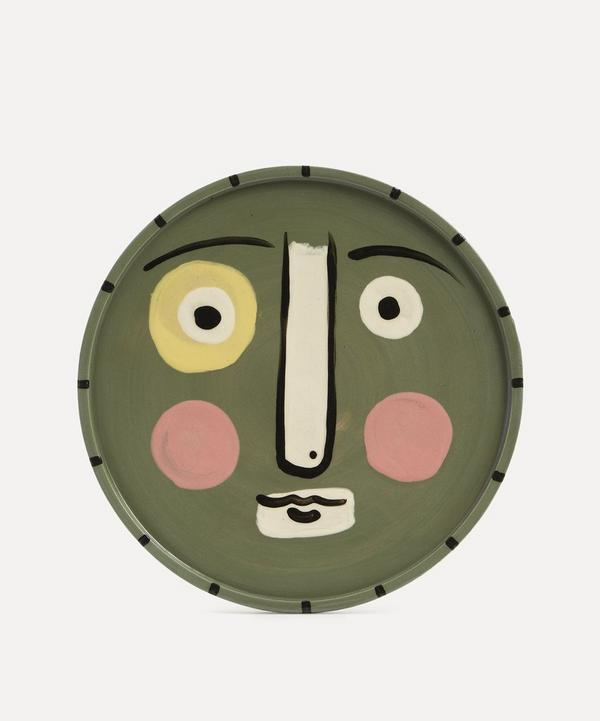 K.S. Creative Pottery - Face Dinner Plate Sage Green