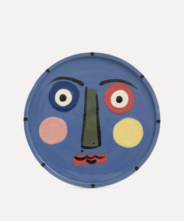 K.S. Creative Pottery - Face Dinner Plate Blue