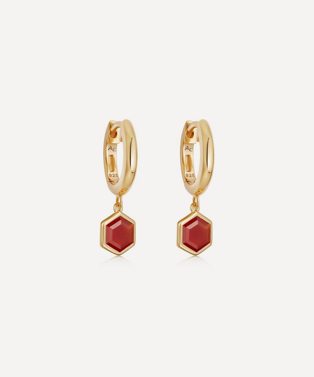 Astley Clarke - 18ct Gold Plated Vermeil Silver Deco Red Agate Drop Hoop Earrings