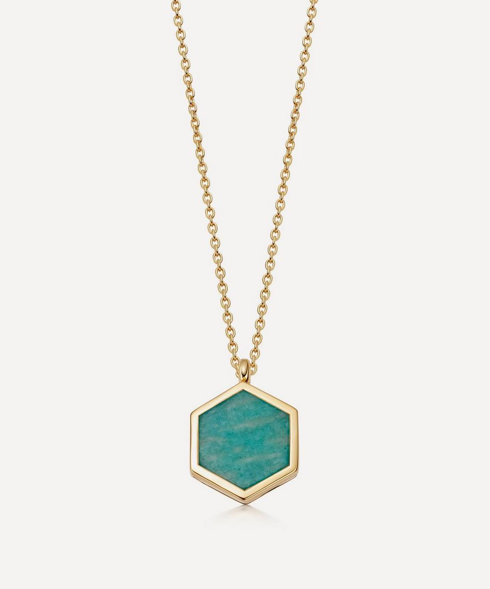 Astley Clarke 18ct Gold Plated Vermeil Silver Deco Amazonite Slice Locket Necklace