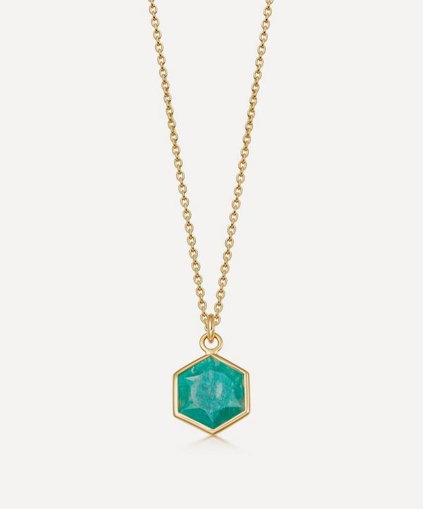 Astley Clarke - 18ct Gold Plated Vermeil Silver Deco Amazonite Pendant Necklace
